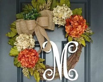 Grapevine Wreath,Front Door Wreath,Year Round Wreath,Burlap Wreath,Wreath for Door,Farmhouse Wreath,Spring Wreath,Hydrangea Door Wreath