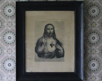 Antique Jesus Picture, Large Sacred Heart of Jesus Print, Large Framed Jesus Print, Gothic Picture, Religious Art, Vintage Jesus Picture