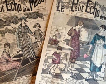 1920's Parisian fashion magazines, Le Petit Echo de la Mode - set of two