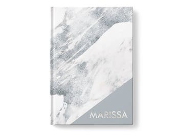 Marble Personalized Journal, Gray Marble Pattern, Personalized Journals for Women, Gift jn0003