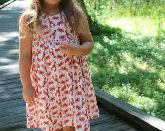 Lobster Dress, baby dress, toddler dress, girl dress, summer dress, summer outfit, crab dress, lobster outfit