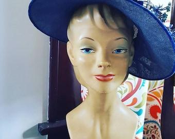 40s Blue Straw Hat, Tilt Hat, Vintage Hat, Flower Hat, 1940s Blue Flowers and Blue Velvet Bows Hat, Vintage Blue Hat