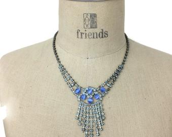 Blue Rhinestone Fringe Necklace with Moon Glow Glass