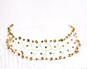 11_Gold wedding, Crystal headband, Crystal crown, Hair accessories, Bridal crown, Crown for bride, Wedding headbands, Crystals accessories