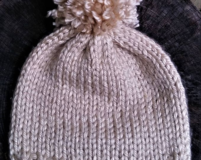 Cream Chunky Knit Pom Pom Hat (CHOOSE YOUR COLORS)