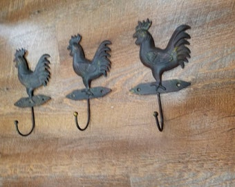 Rooster Hooks Wall Hanging Farmhouse