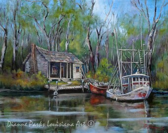 Louisiana Bayou Swamp Art, Shrimp Boat and Cabin Landscape Painting, Wildlife Art, Louisiana Swamp, Marine Fishing Art - 'Bayou Shrimper'