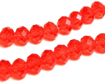 Faceted Glass Briolette Beads, Rondelle Beads 6mm - Light Red