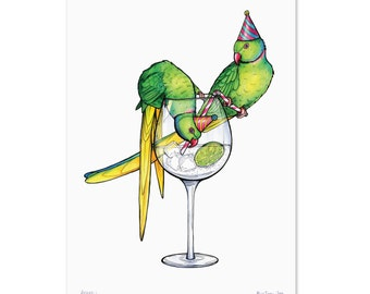 Parakeets in Party Hats (Stealing Gin) - A3 Print