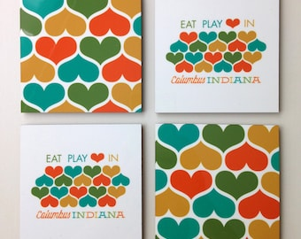 Columbus IN Eat Play Love Coaster Set