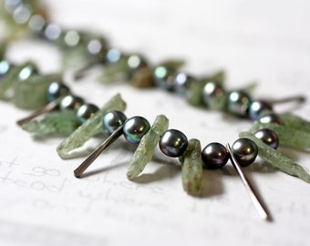Green Kyanite Crystal and Pearl Necklace Raw Crystal and Freshwater Pearl One of a Kind Jewelry design