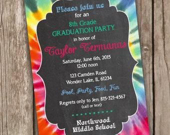 Graduation Party Invitation - Chalkboard Style Graduation Invitation - Tie Dye Graduation Invitation - Digital Printable File