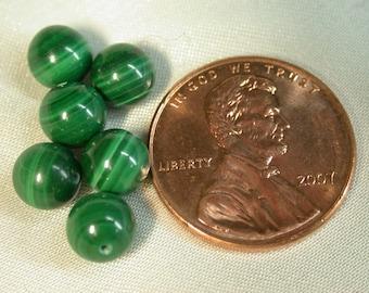 VINTAGE MALACHITE  Beads AA-grade 6mm pkg 6 rb27