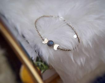 Sterling silver labradorite triple goddess moon bracelet, moon phases pagan symbol bracelet