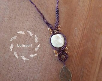 Necklace / necklace Aurora long micro macrame charm