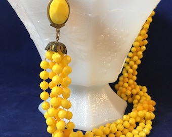 Vintage Two Tone Yellow Multi Strand Bead Statement Necklace