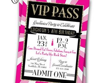 VIP Pass Invitation Glitz & Glamour Rock Star Party Printable Invitation 5x7 VIP Fashion Party Glam Spa VIP Birthday Party Gold Pink Glitter