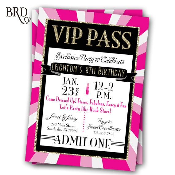 VIP Pass Invitation Glitz & Glamour Rock Star Party Printable
