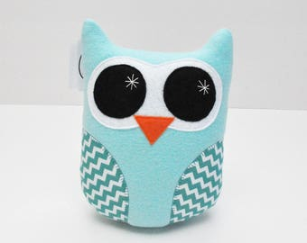 Light Blue Plush Owl With Chevron Stripes - READY TO SHIP