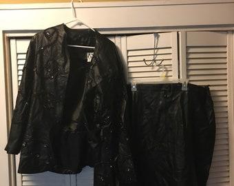 Leather Sequin coat & skirt set