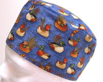 Mens or Unisex Scrub Hat, Surgical Cap or Chemo Cap with Ducks