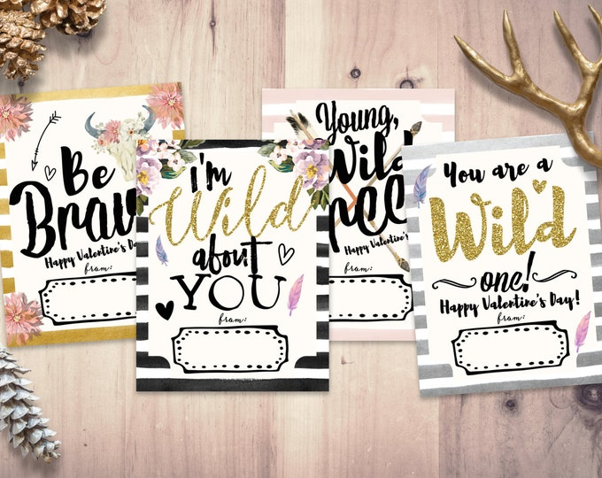 BOHO, tribal Valentine Cards for kids- Kids Valentine Cards-Valentine Cards- DIY PRINTABLE Valentine Cards- Wild and Free