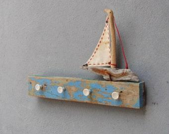 Sea Travels Jewelry Organizer Rack, Towel Holder, Coat Rack - Boatwood, Driftwood, Textile, Metal - Beach Home Decor