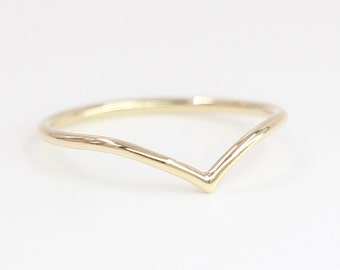 Chevron Ring, 14k Solid Gold, 1.20mm Chevron Dainty Gold Ring, Rose White Yellow Gold Chevron Ring, Midi Ring, Thin Ring