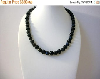 ON SALE Retro Black Faceted Plastic Acrylic Beads Shorter Length Necklace 80417