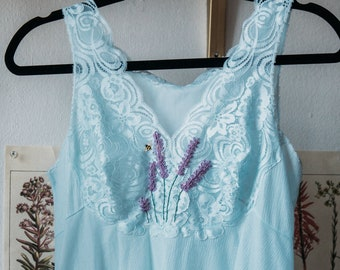 From Paris Romantic Wendy Darling Nightgown Lavender Bee Embroidered light blue
