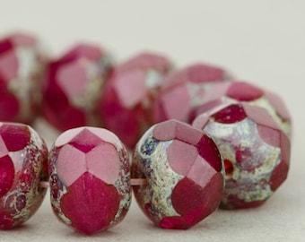 Czech Glass Beads - Czech Glass Rondelles - Deep Fuchsia Opaline with Picasso Finish - 9x6mm - 25 Beads