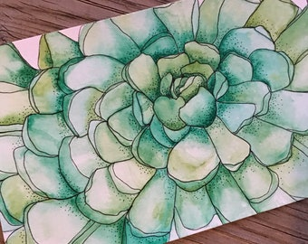Succulent Original Watercolor Painting One-of-a-Kind Art Drawing