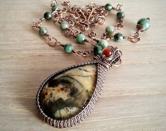 Wire wrapped Dendrite Agate Cabochon Necklace