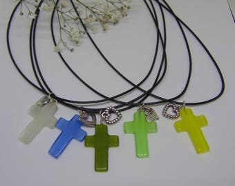 """Opal cross with silver heart charm on single black cord necklace; """"Love Came Down"""""""