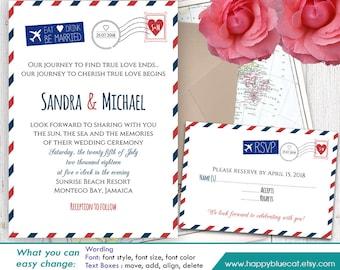 Travel Rsvp Template Etsy - Travel wedding invitations template