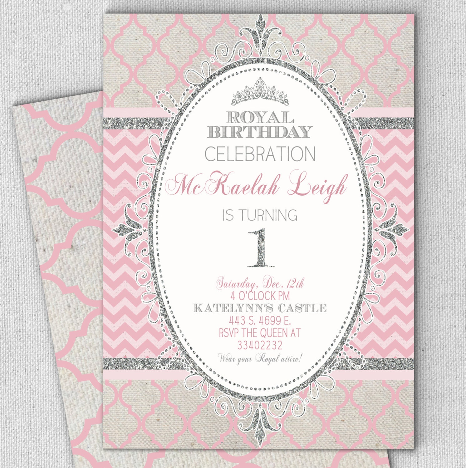 pink silver princess invitation pink and silver princess