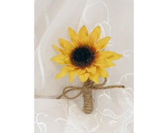 Boutonniere Sunflower with Brown Twine Susan Collection Made to Order