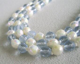 Vintage Glass Bead Triple Strand Necklace Mid Century