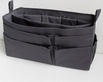 Extra large size Purse organizer  with laptop padded case - Bag organizer insert in Gray/ Charcoal fabric