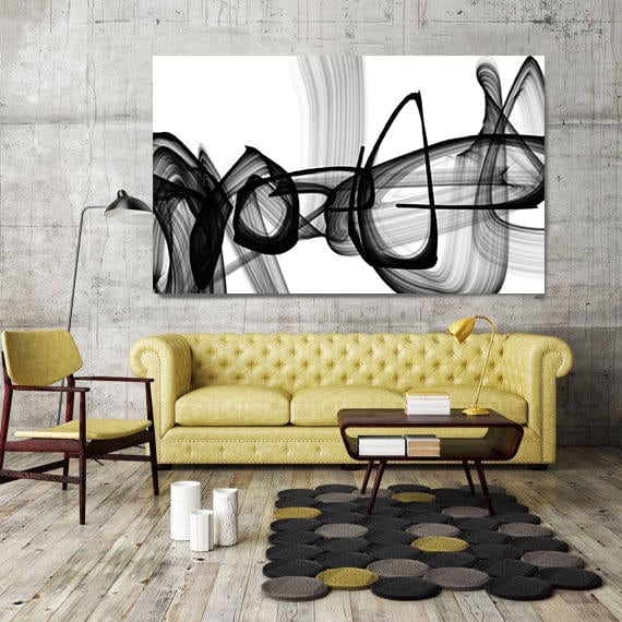"""An infinite travel. Black and White Abstract Painting Print, Unique Wall Decor, Large Contemporary Canvas Art Print up to 72"""" by Irena Orlov"""