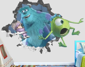 Monsters Inc Mike James Movie Wall Decal - Monsters Inc Smashed Sticker - Movie Kids 3D Smashed Art - OP411 : monsters inc wall decals - www.pureclipart.com