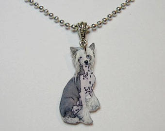 Handcrafted Plastic Chinese Crested Dog Puppy Necklace Pendant Gifts for Her