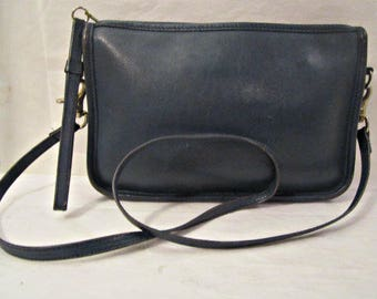 Leather Purse, Dark Blue leather shoulder bag, Leather Clutch, Cross body bag