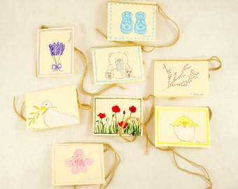 Mini cards hand painted in Italy
