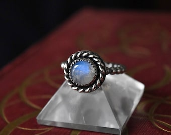 Sterling Silver Rainbow Moonstone Rings. Size 6.
