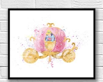 Princess Cinderella Watercolor, Disney Art, Carriage, Nursery, Girl Room Decor, Wall Art, Art Print, Home Decor, Kids Room Decor - 528