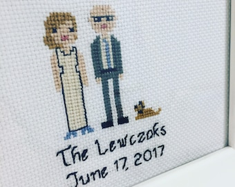 Customizable Wedding Family Portrait Cross Stitch - Marriage, Bride, Groom, Pets, Kids - White - Hoop or Fame - Bridal Shower - Gift