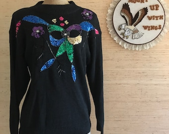Vintage Beaded Sequin Knitted Sweater