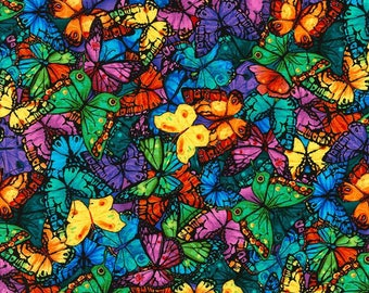 Pavilion Collection-Packed Butterflies -TIMELESS TREASURES- Cotton Fabric- Quilt- Butterfly -Apparel-WindyRobinCotton- *Sold in Half Yard.