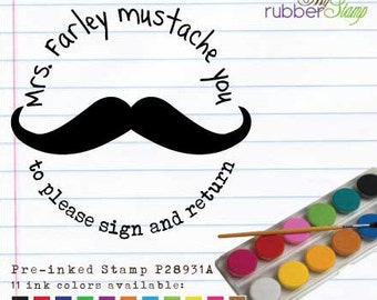 Mustache Stamp (Personalized Gifts for Teachers) Back to School, This book belongs to, Address Stamper, Please sign and return (P28931)